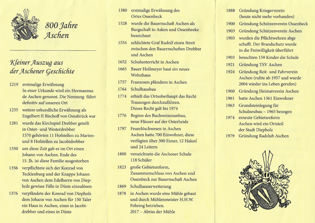 Auszug aus der Geschichte Aschens.